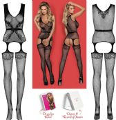 Obsessive Lingerie [ UK 6 - 12 ] Black F217 'Seductive' Bodystocking (E26761)